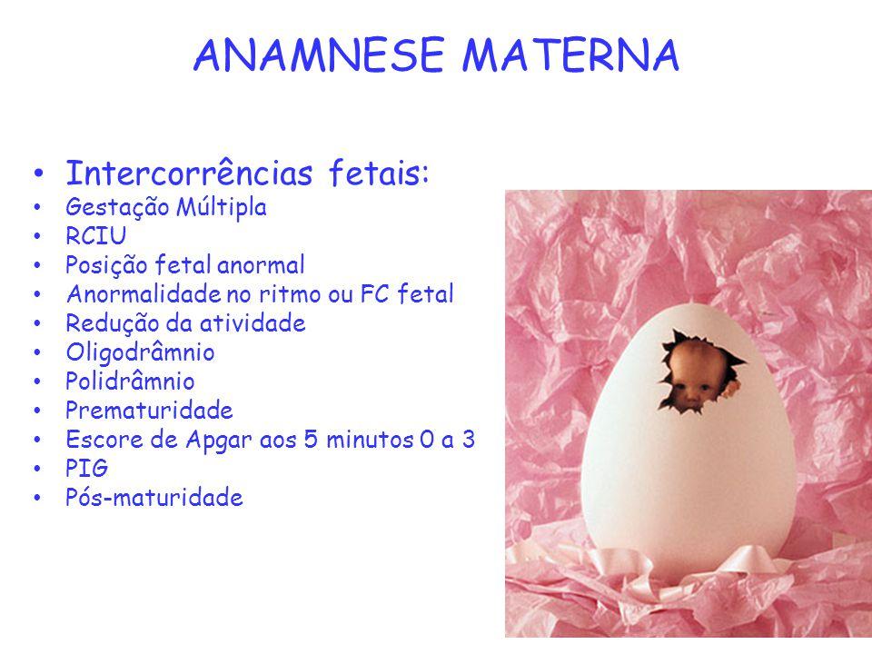 ANAMNESE MATERNA Intercorrências fetais: Gestação Múltipla RCIU