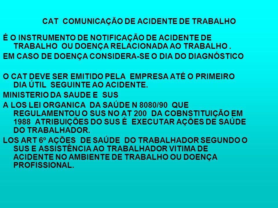 CAT COMUNICAÇÃO DE ACIDENTE DE TRABALHO