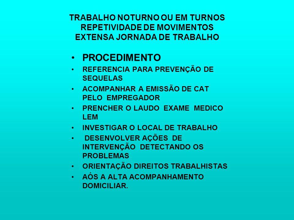 TRABALHO NOTURNO OU EM TURNOS REPETIVIDADE DE MOVIMENTOS EXTENSA JORNADA DE TRABALHO