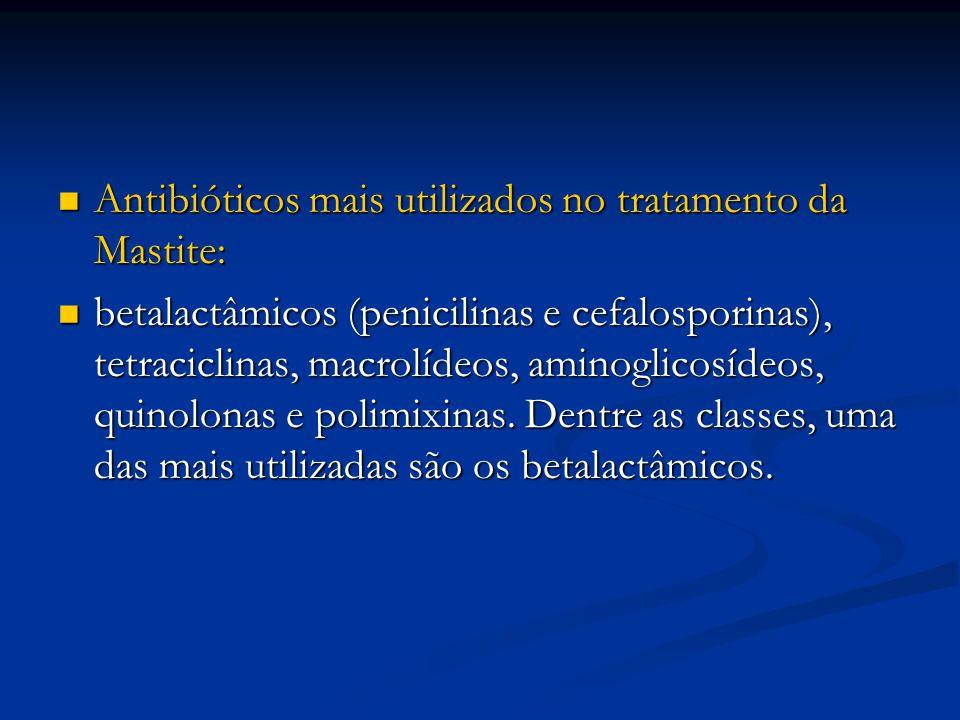Antibióticos mais utilizados no tratamento da Mastite: