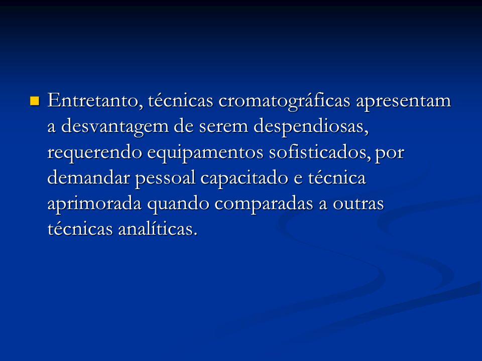 Entretanto, técnicas cromatográficas apresentam a desvantagem de serem despendiosas, requerendo equipamentos sofisticados, por demandar pessoal capacitado e técnica aprimorada quando comparadas a outras técnicas analíticas.