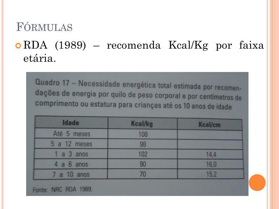 Fórmulas RDA (1989) – recomenda Kcal/Kg por faixa etária.