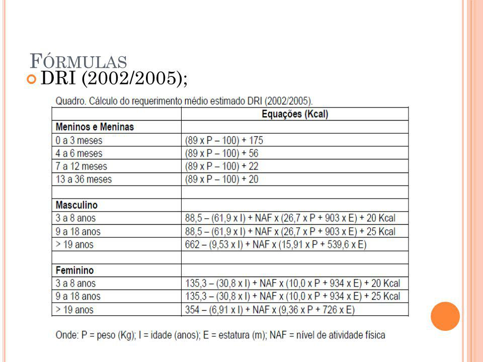 Fórmulas DRI (2002/2005);