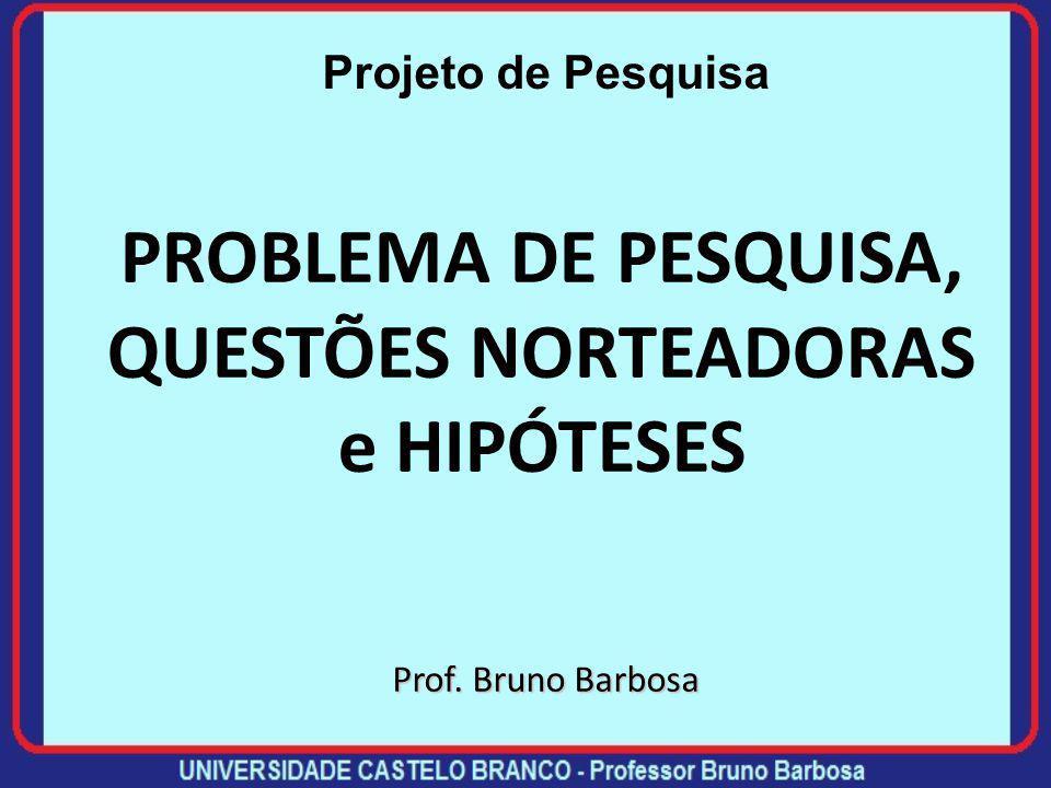 PROBLEMA DE PESQUISA, QUESTÕES NORTEADORAS e HIPÓTESES