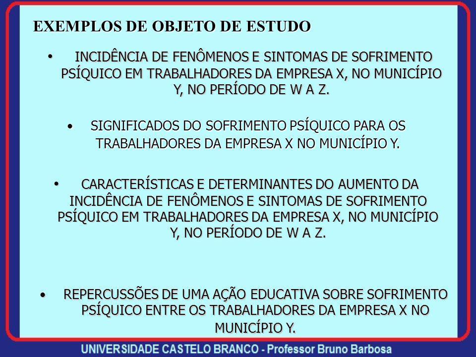 EXEMPLOS DE OBJETO DE ESTUDO