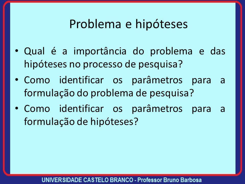 Problema e hipóteses Qual é a importância do problema e das hipóteses no processo de pesquisa