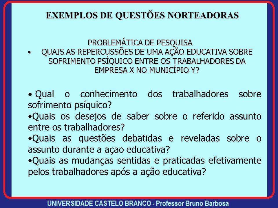 EXEMPLOS DE QUESTÕES NORTEADORAS