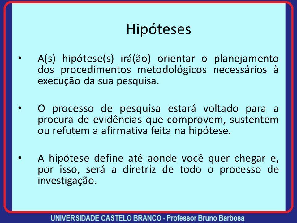Hipóteses A(s) hipótese(s) irá(ão) orientar o planejamento dos procedimentos metodológicos necessários à execução da sua pesquisa.