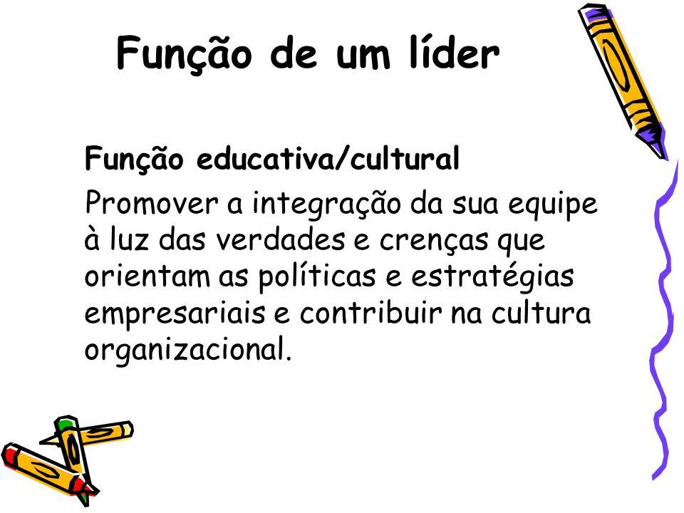 Função de um líder Função educativa/cultural