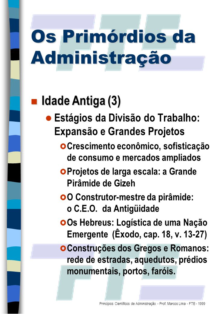 Os Primórdios da Administração