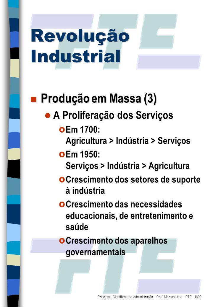 Revolução Industrial Produção em Massa (3) A Proliferação dos Serviços