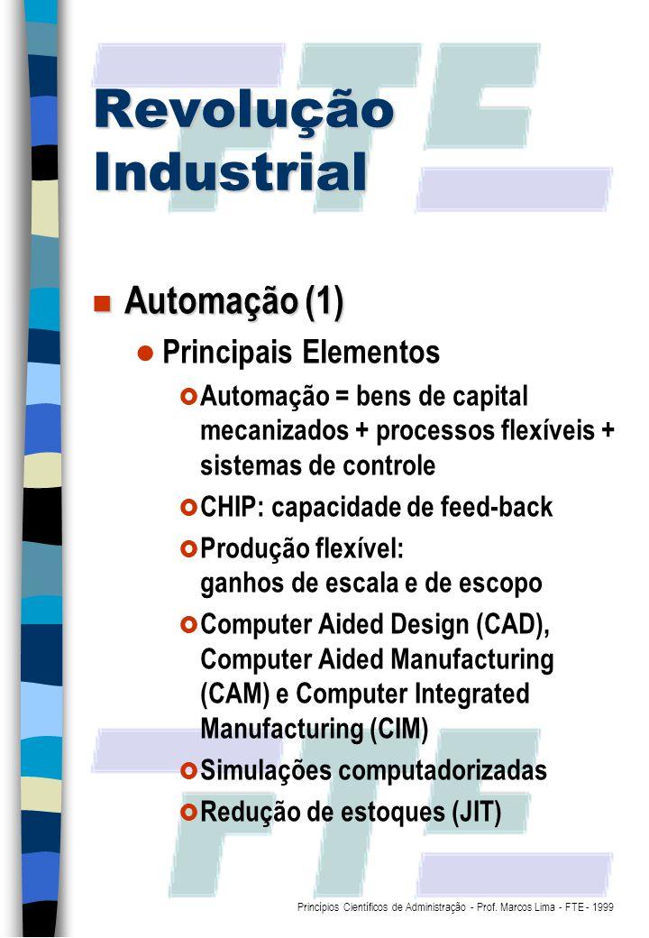 Revolução Industrial Automação (1) Principais Elementos