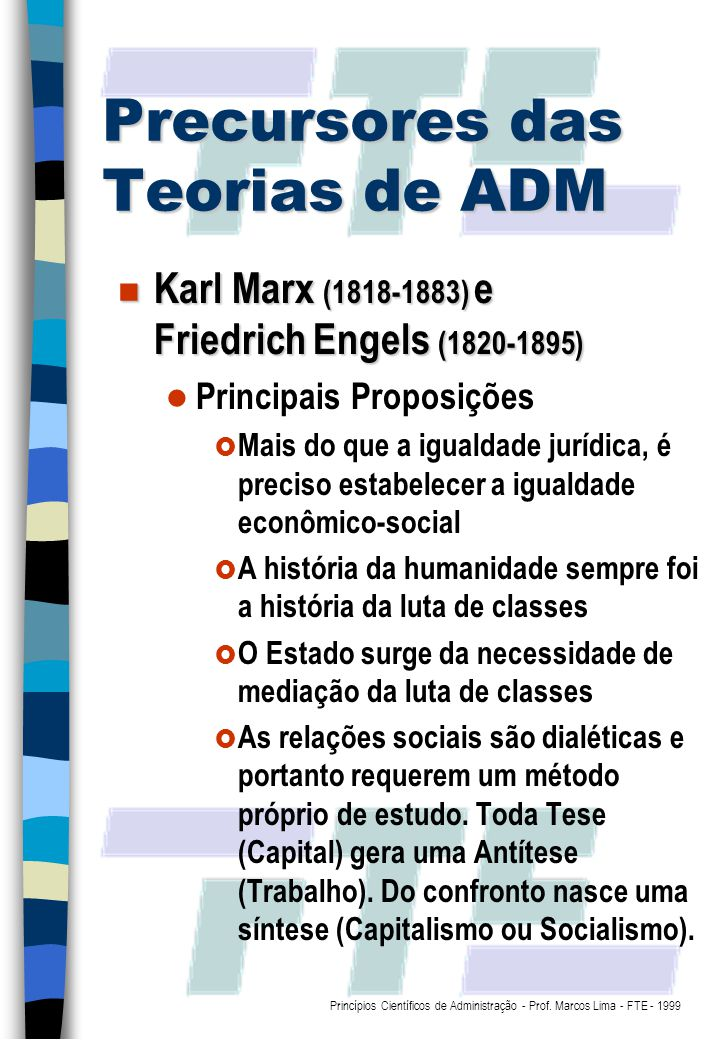 Precursores das Teorias de ADM