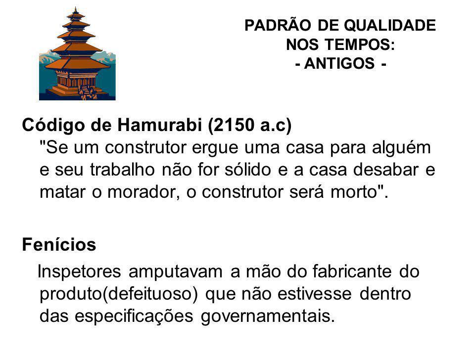 PADRÃO DE QUALIDADE NOS TEMPOS: - ANTIGOS -