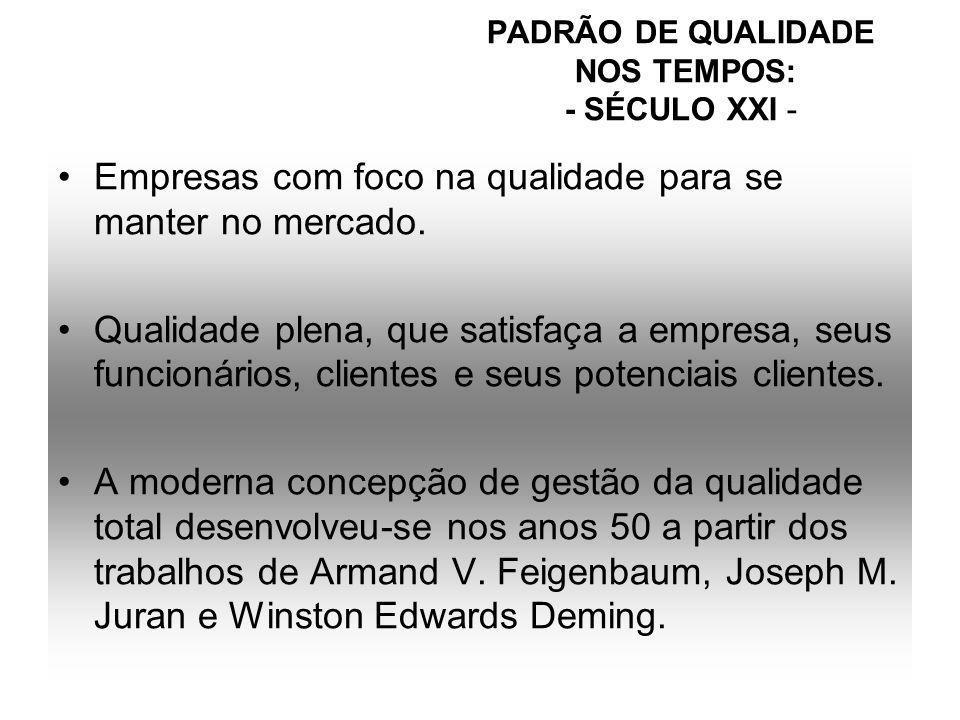 PADRÃO DE QUALIDADE NOS TEMPOS: - SÉCULO XXI -