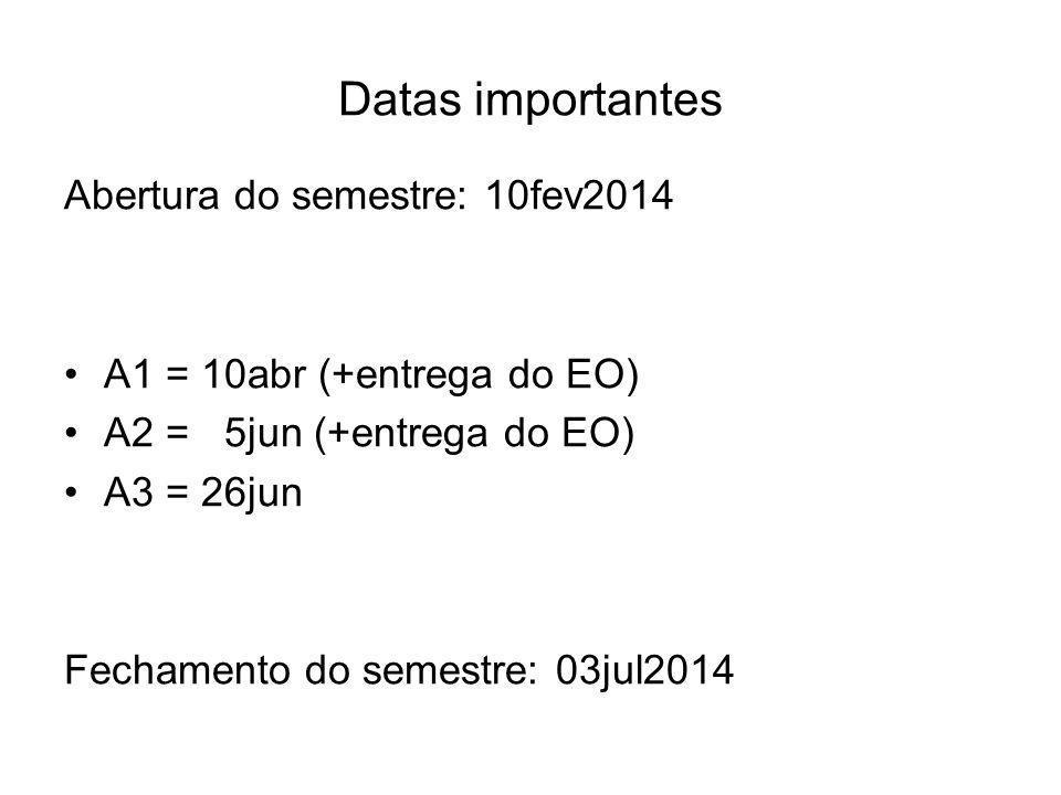 Datas importantes Abertura do semestre: 10fev2014