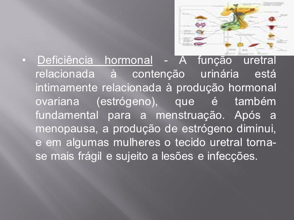• Deficiência hormonal - A função uretral relacionada à contenção urinária está intimamente relacionada à produção hormonal ovariana (estrógeno), que é também fundamental para a menstruação.
