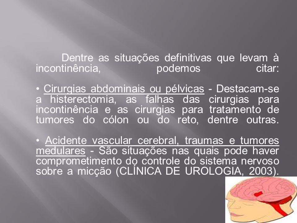 Dentre as situações definitivas que levam à incontinência, podemos citar: • Cirurgias abdominais ou pélvicas - Destacam-se a histerectomia, as falhas das cirurgias para incontinência e as cirurgias para tratamento de tumores do cólon ou do reto, dentre outras.