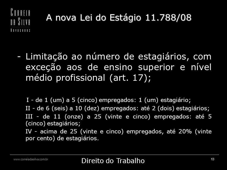A nova Lei do Estágio 11.788/08 Limitação ao número de estagiários, com exceção aos de ensino superior e nível médio profissional (art. 17);