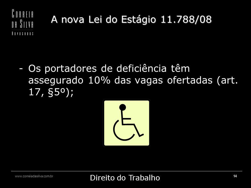A nova Lei do Estágio 11.788/08 Os portadores de deficiência têm assegurado 10% das vagas ofertadas (art.