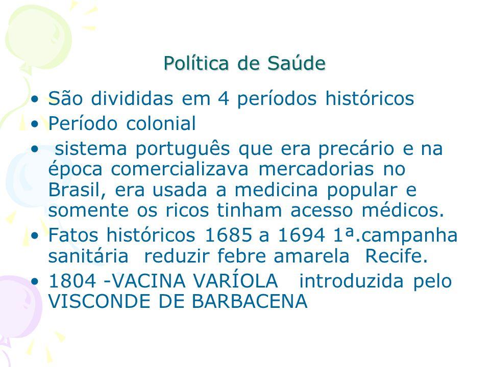 Política de Saúde São divididas em 4 períodos históricos. Período colonial.