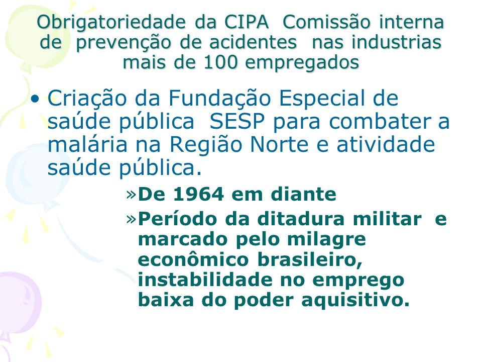 Obrigatoriedade da CIPA Comissão interna de prevenção de acidentes nas industrias mais de 100 empregados