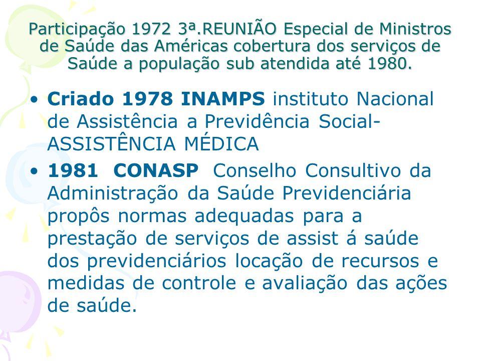 Participação 1972 3ª.REUNIÃO Especial de Ministros de Saúde das Américas cobertura dos serviços de Saúde a população sub atendida até 1980.