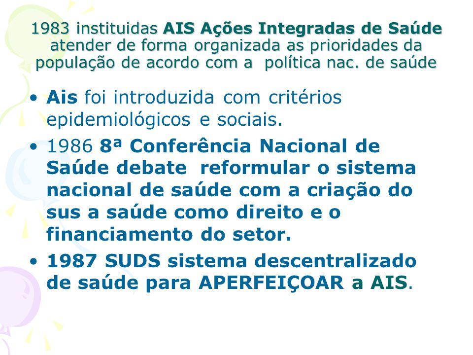 Ais foi introduzida com critérios epidemiológicos e sociais.