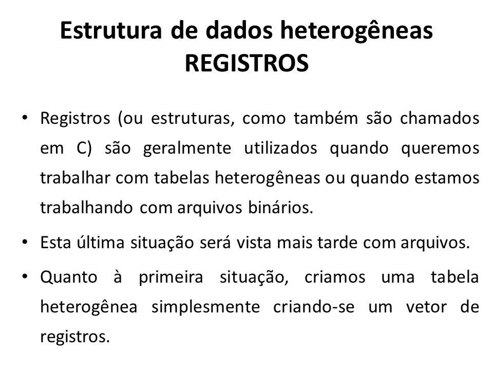 Estrutura de dados heterogêneas REGISTROS
