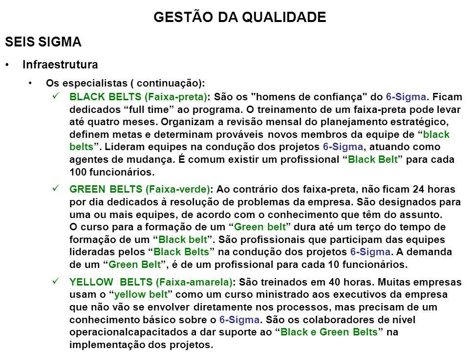 GESTÃO DA QUALIDADE SEIS SIGMA Infraestrutura