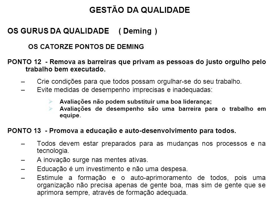 GESTÃO DA QUALIDADE OS GURUS DA QUALIDADE ( Deming )