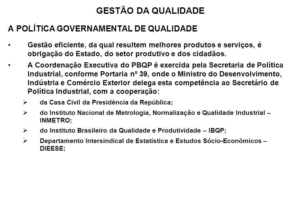 GESTÃO DA QUALIDADE A POLÍTICA GOVERNAMENTAL DE QUALIDADE