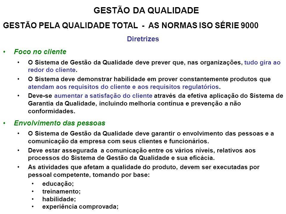 GESTÃO DA QUALIDADE GESTÃO PELA QUALIDADE TOTAL - AS NORMAS ISO SÉRIE 9000. Diretrizes. Foco no cliente.