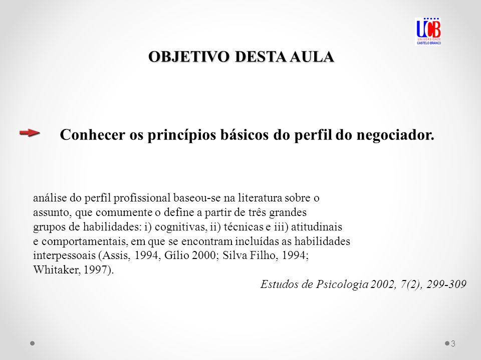 Conhecer os princípios básicos do perfil do negociador.