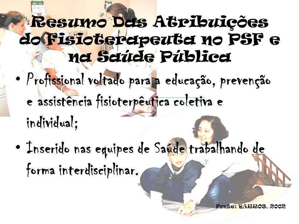 Resumo Das Atribuições do Fisioterapeuta no PSF e na Saúde Pública