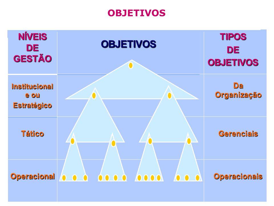 OBJETIVOS OBJETIVOS NÍVEIS DE GESTÃO TIPOS DE OBJETIVOS Da Organização