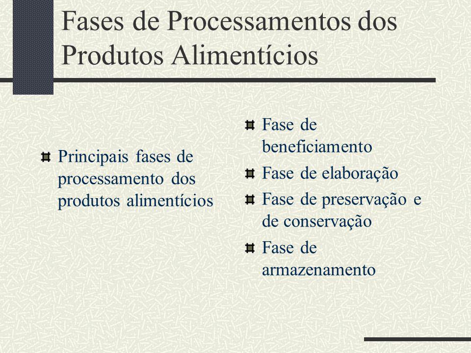 Fases de Processamentos dos Produtos Alimentícios