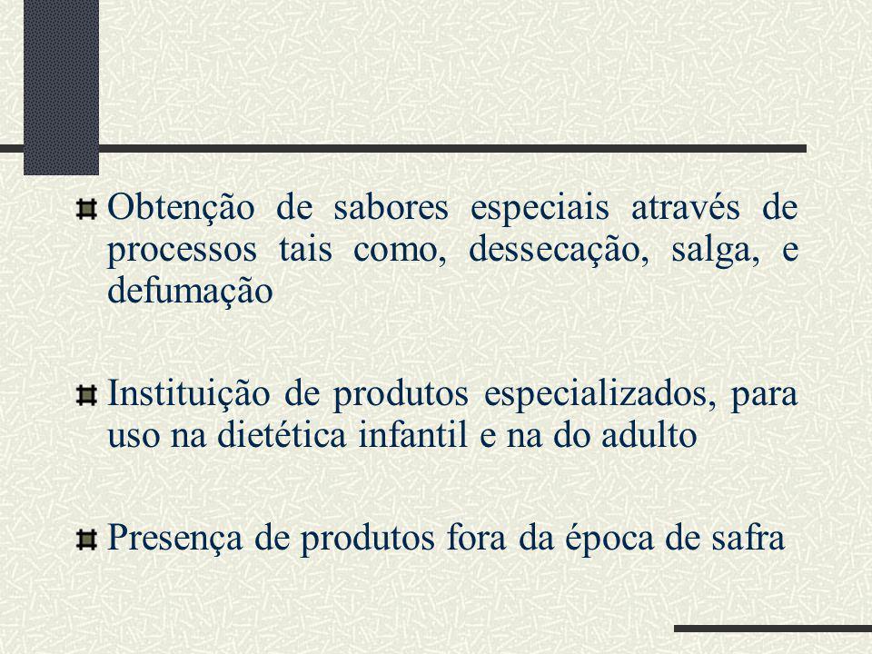 Obtenção de sabores especiais através de processos tais como, dessecação, salga, e defumação