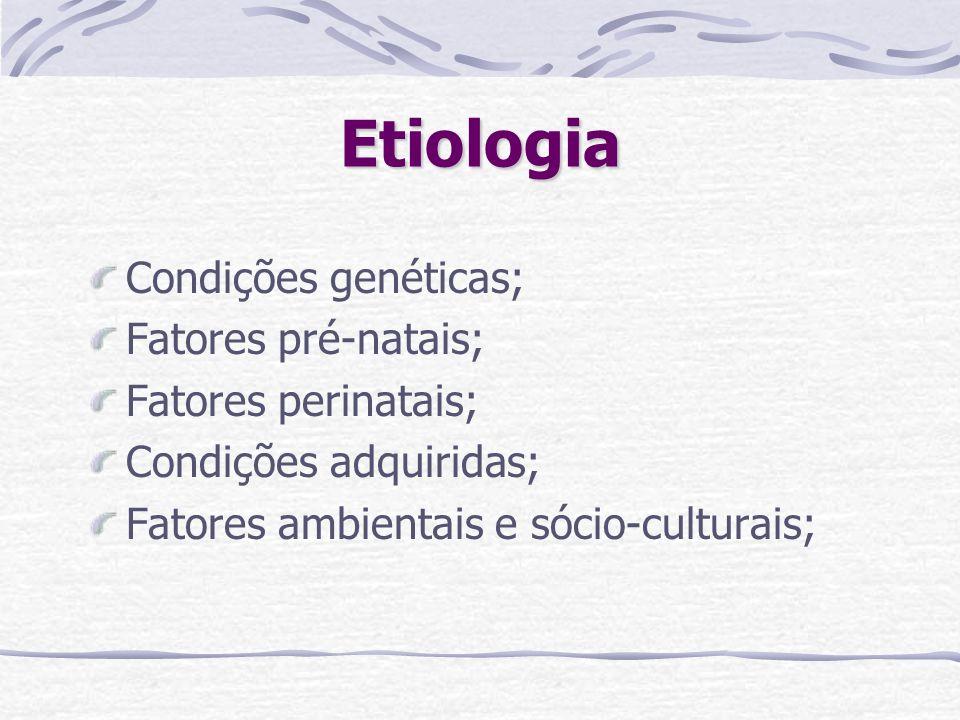 Etiologia Condições genéticas; Fatores pré-natais; Fatores perinatais;