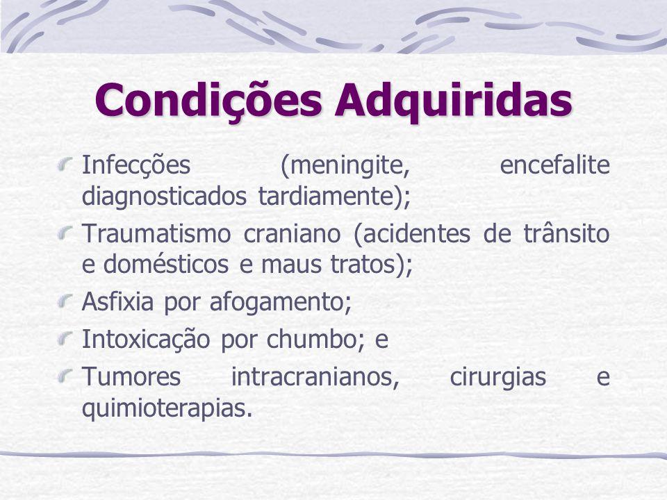Condições Adquiridas Infecções (meningite, encefalite diagnosticados tardiamente);