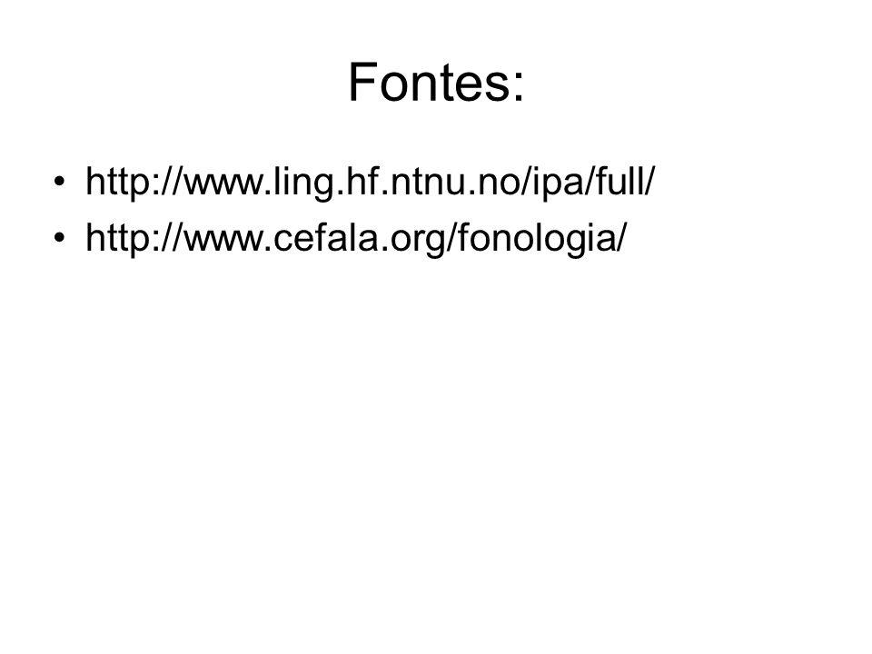 Fontes: http://www.ling.hf.ntnu.no/ipa/full/
