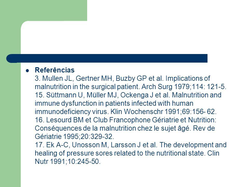 Referências 3. Mullen JL, Gertner MH, Buzby GP et al