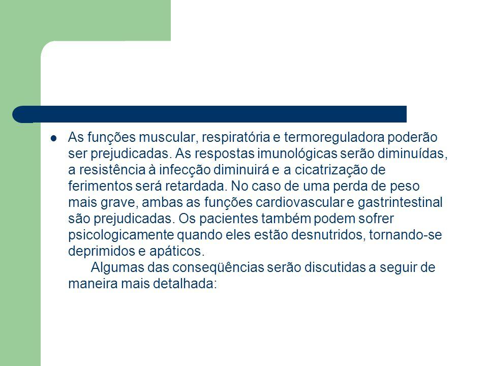 As funções muscular, respiratória e termoreguladora poderão ser prejudicadas.