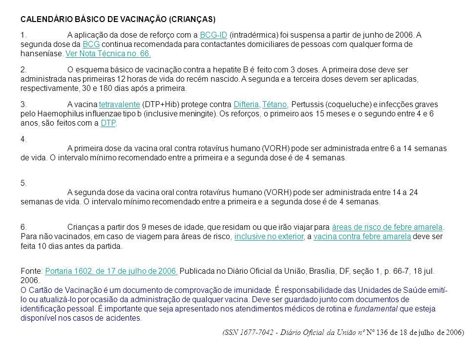 CALENDÁRIO BÁSICO DE VACINAÇÃO (CRIANÇAS)