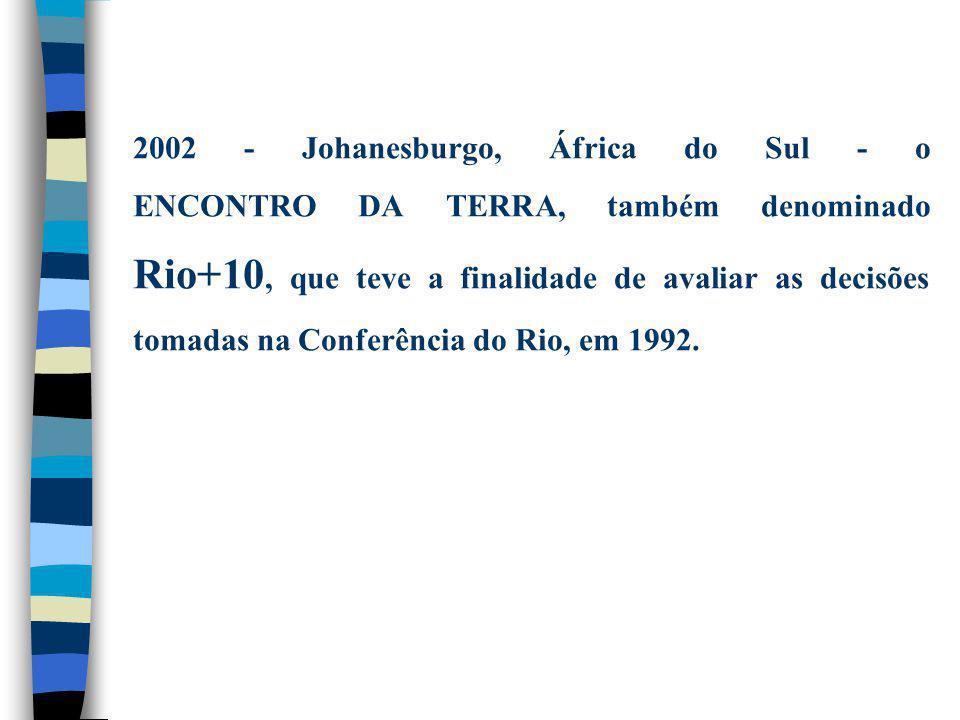 2002 - Johanesburgo, África do Sul - o ENCONTRO DA TERRA, também denominado Rio+10, que teve a finalidade de avaliar as decisões tomadas na Conferência do Rio, em 1992.