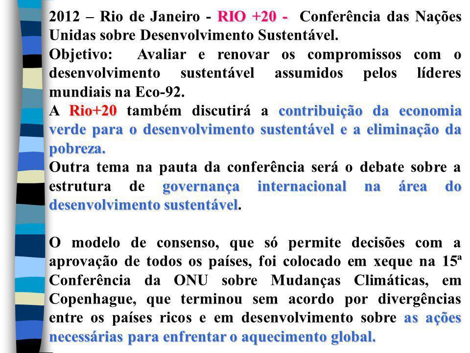 2012 – Rio de Janeiro - RIO +20 - Conferência das Nações Unidas sobre Desenvolvimento Sustentável.