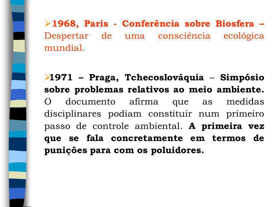 1968, Paris - Conferência sobre Biosfera –Despertar de uma consciência ecológica mundial.