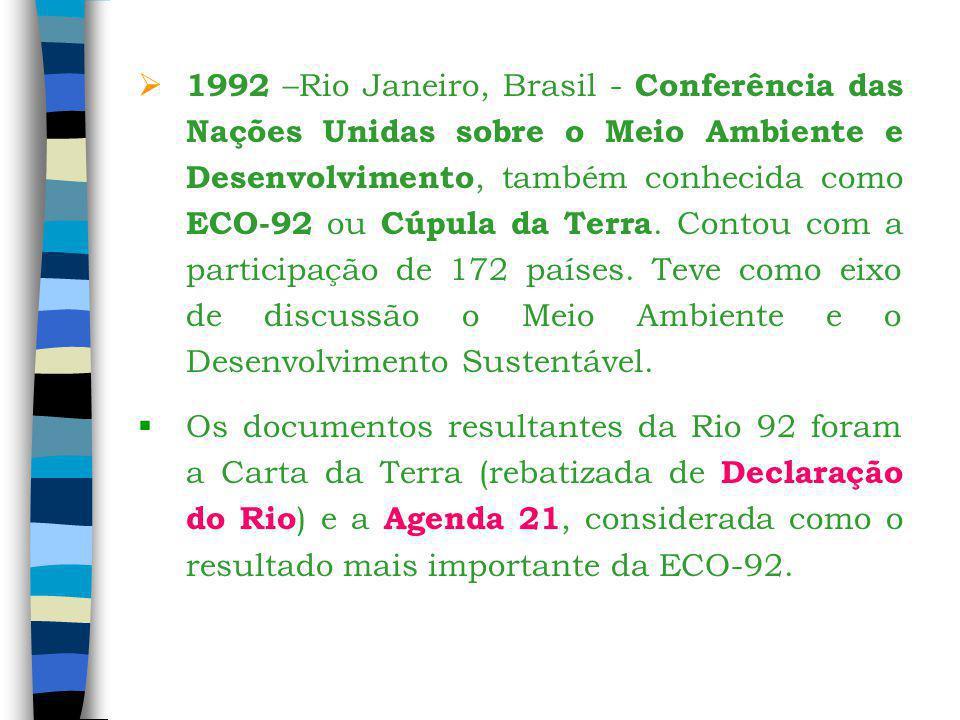 1992 –Rio Janeiro, Brasil - Conferência das Nações Unidas sobre o Meio Ambiente e Desenvolvimento, também conhecida como ECO-92 ou Cúpula da Terra. Contou com a participação de 172 países. Teve como eixo de discussão o Meio Ambiente e o Desenvolvimento Sustentável.