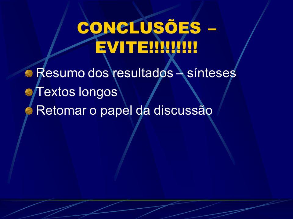 CONCLUSÕES – EVITE!!!!!!!!! Resumo dos resultados – sínteses