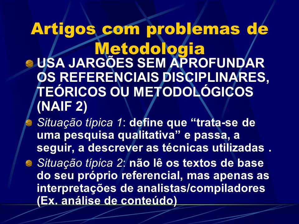 Artigos com problemas de Metodologia